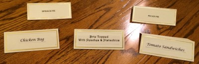 Book Club Food Cards, recipe titles on place holder cards