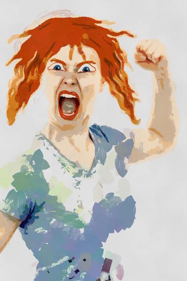 FU Day. Angry woman with fist raised and open yelling mouth