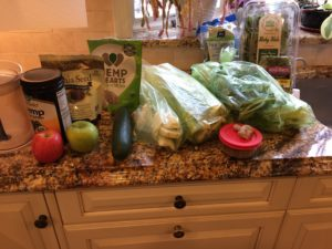 Green juice ingredients ready ahead of time for juicing.