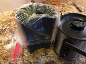 Simple juicing hacks pulp container lined with bag