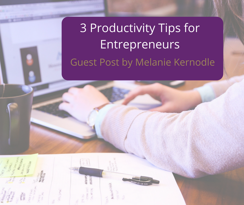 Productivity Tips for entrepreneurs. Woman typing at laptop
