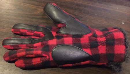 Organizing hack. Red and black plaid glove sewing repair
