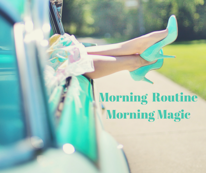 Morning Routine Woman with Aqua Heels sticking out of Aqua Vintage open car window